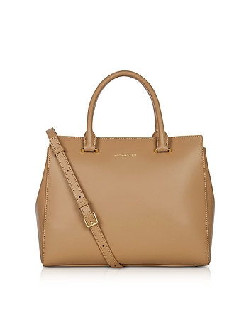 Camelia Smooth Leather Top Handle Satchel Bag