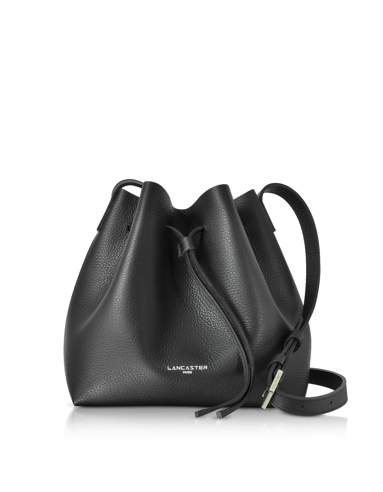 Pur & Element Foulonné Black Leather Bucket Bag