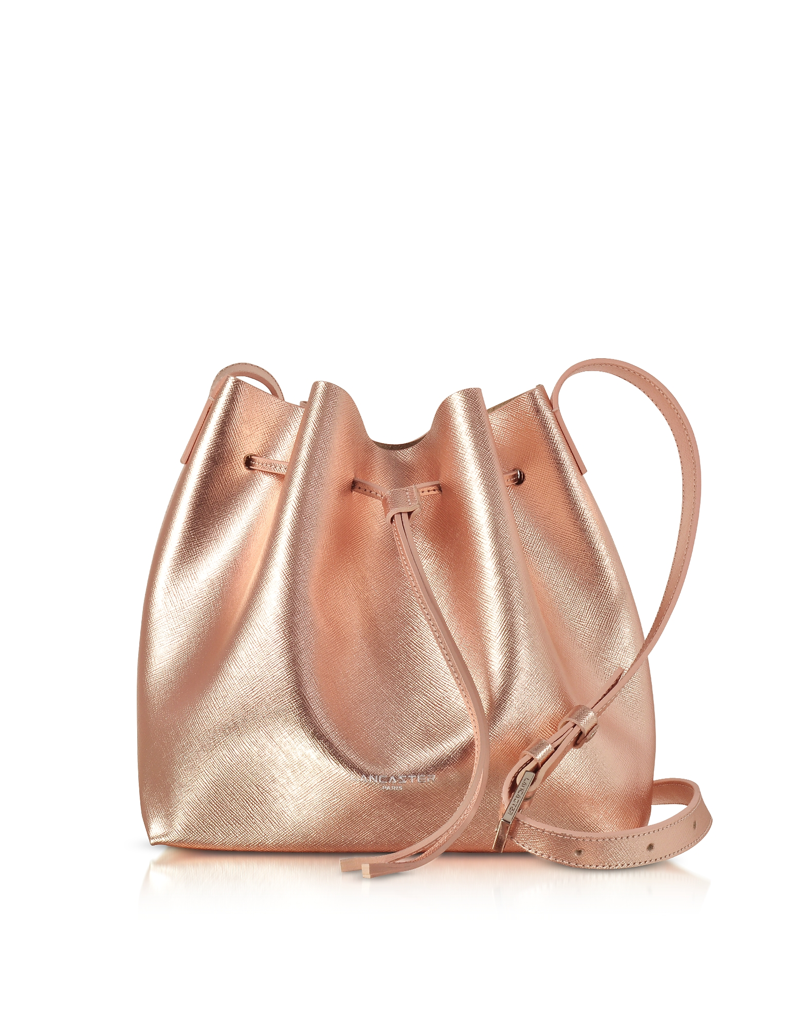 Lancaster Paris Handbags, Pur Saffiano Leather Metallic Powder Pink Bucket Bag