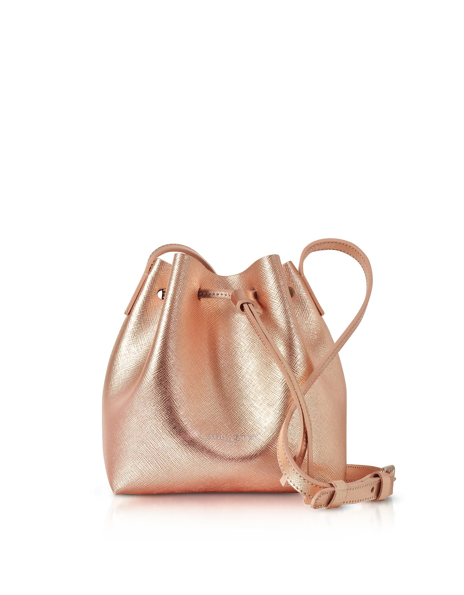 Pur Saffiano - Маленькая Светло-розовая Сумка Мешок из Кожи Металлик
