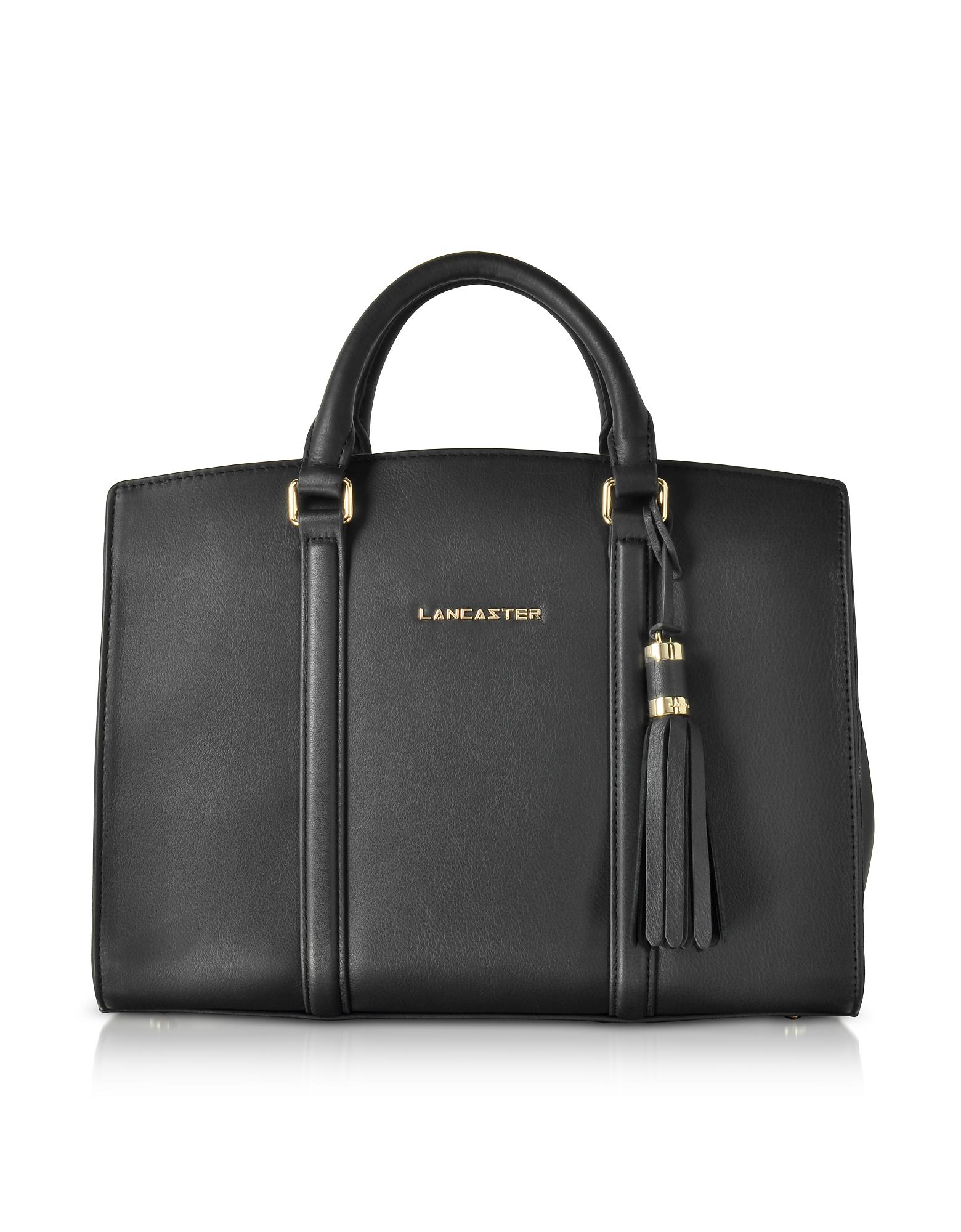Mademoiselle Ana Black Leather Large Satchel Bag