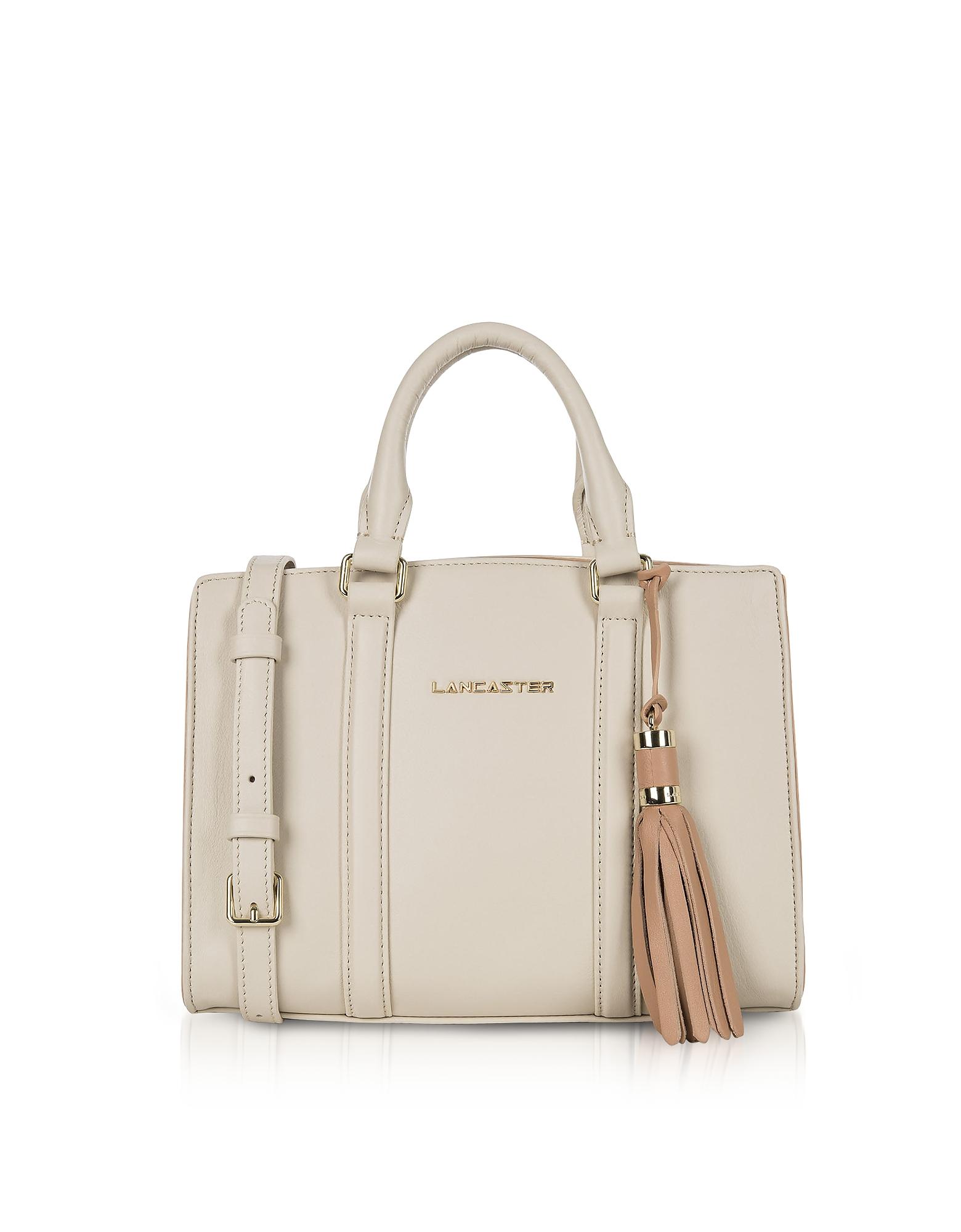 Lancaster Paris Handbags, Mademoiselle Ana Beige/Nude Leather Small Satchel Bag