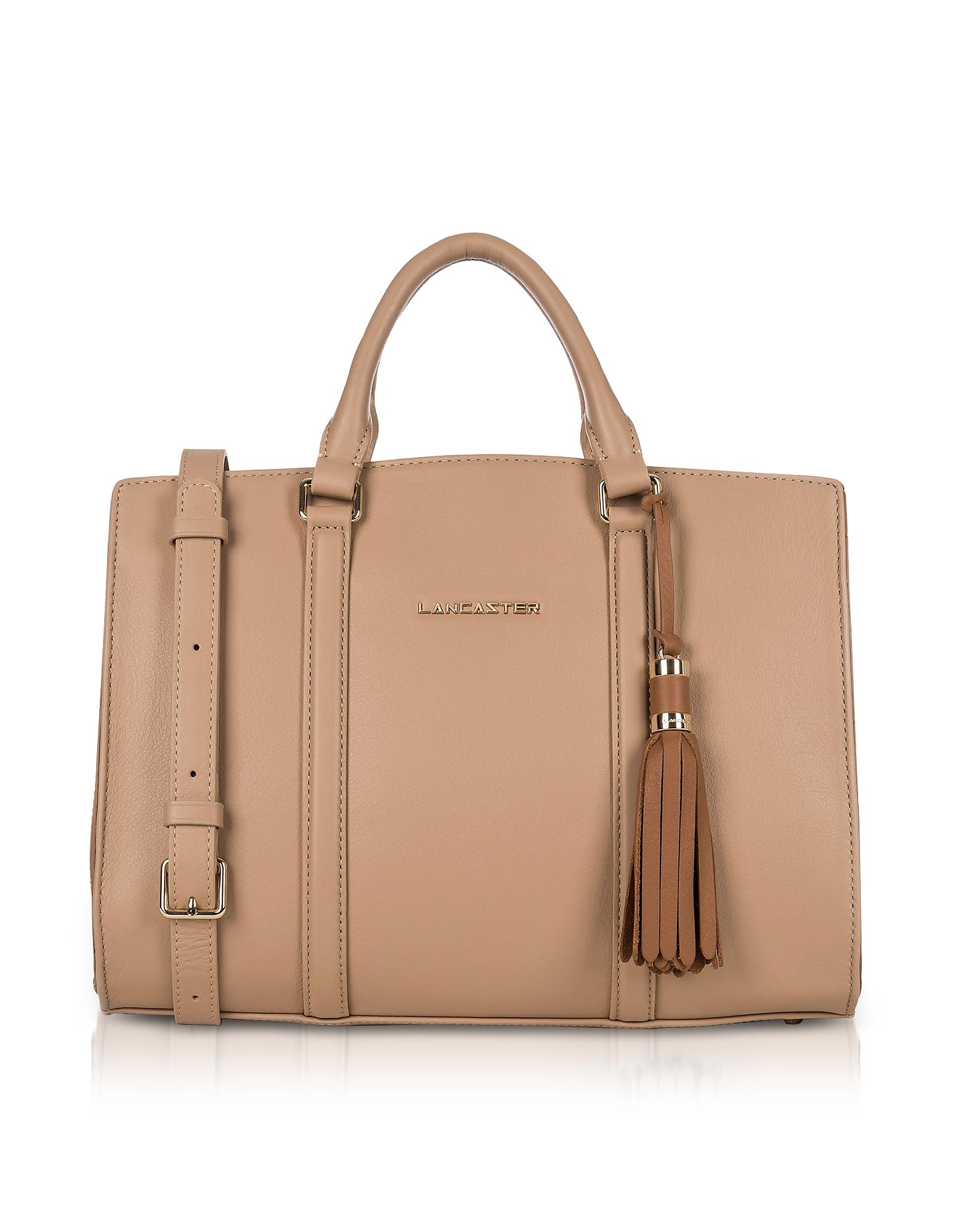 Mademoiselle Ana Nude/Hazelnut Leather Large Satchel Bag