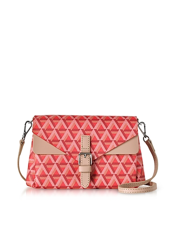 Ikon Red & Nude Coated Canvas and Leather Mini Clutch ls130218-022-00