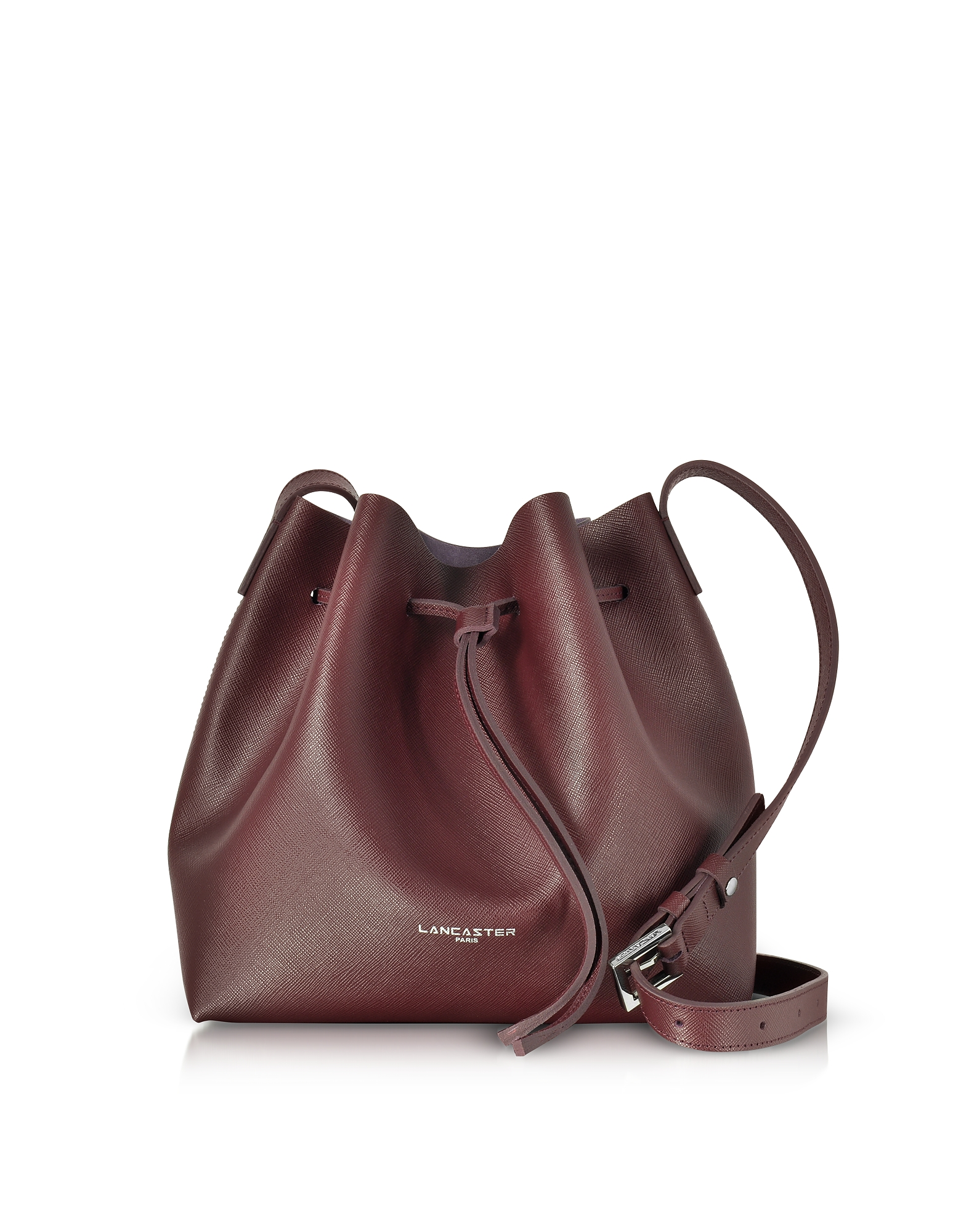 Lancaster Paris Handbags, Pur & Element Burgundy Saffiano Leather Bucket Bag
