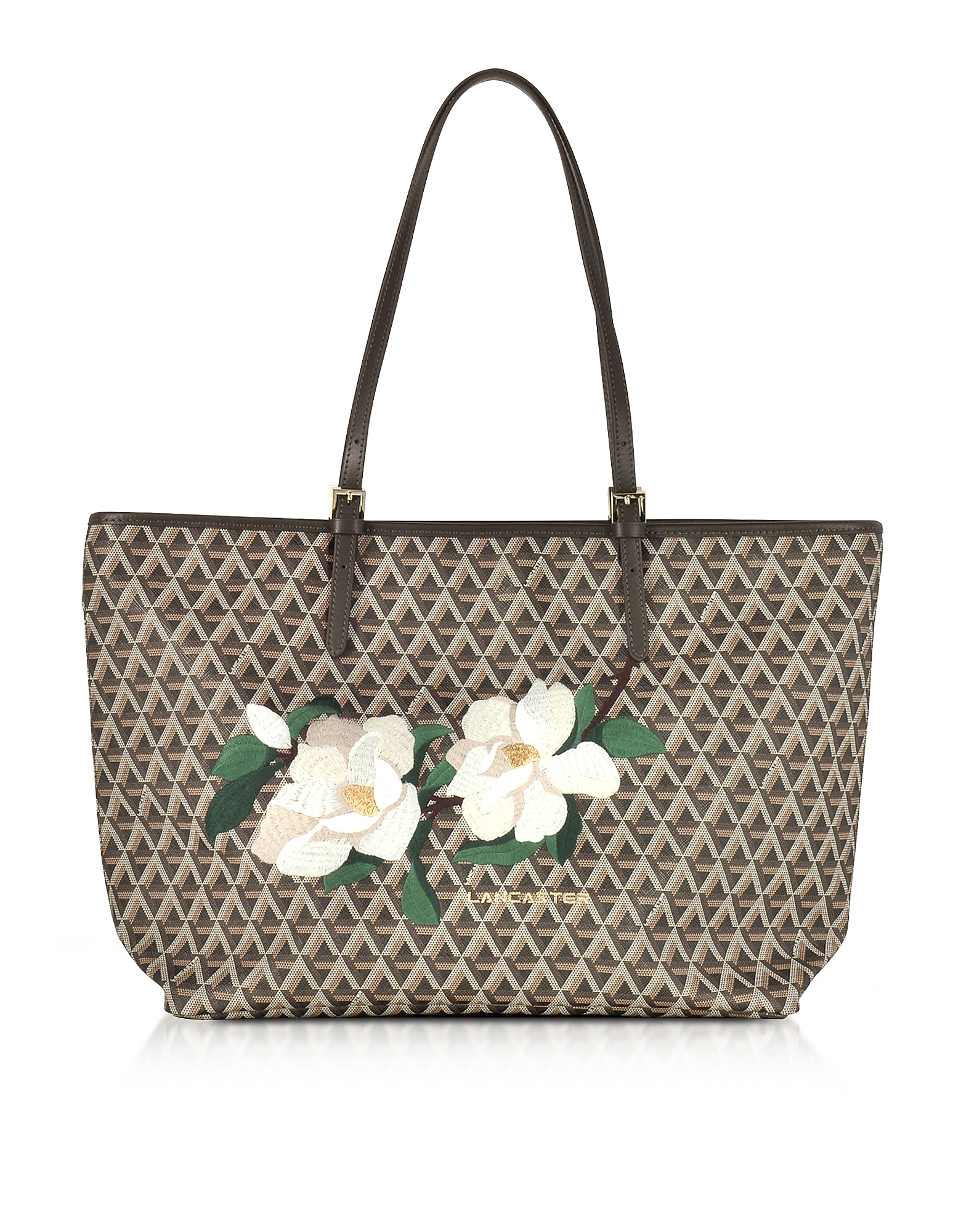 Lancaster Paris Handbags, Icon Brown Coated Canvas & Leather Tote Bag w/Magnolia Embroidery