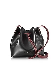 Pur & Element Black and Burgundy Leather Bucket Bag - Lancaster Paris