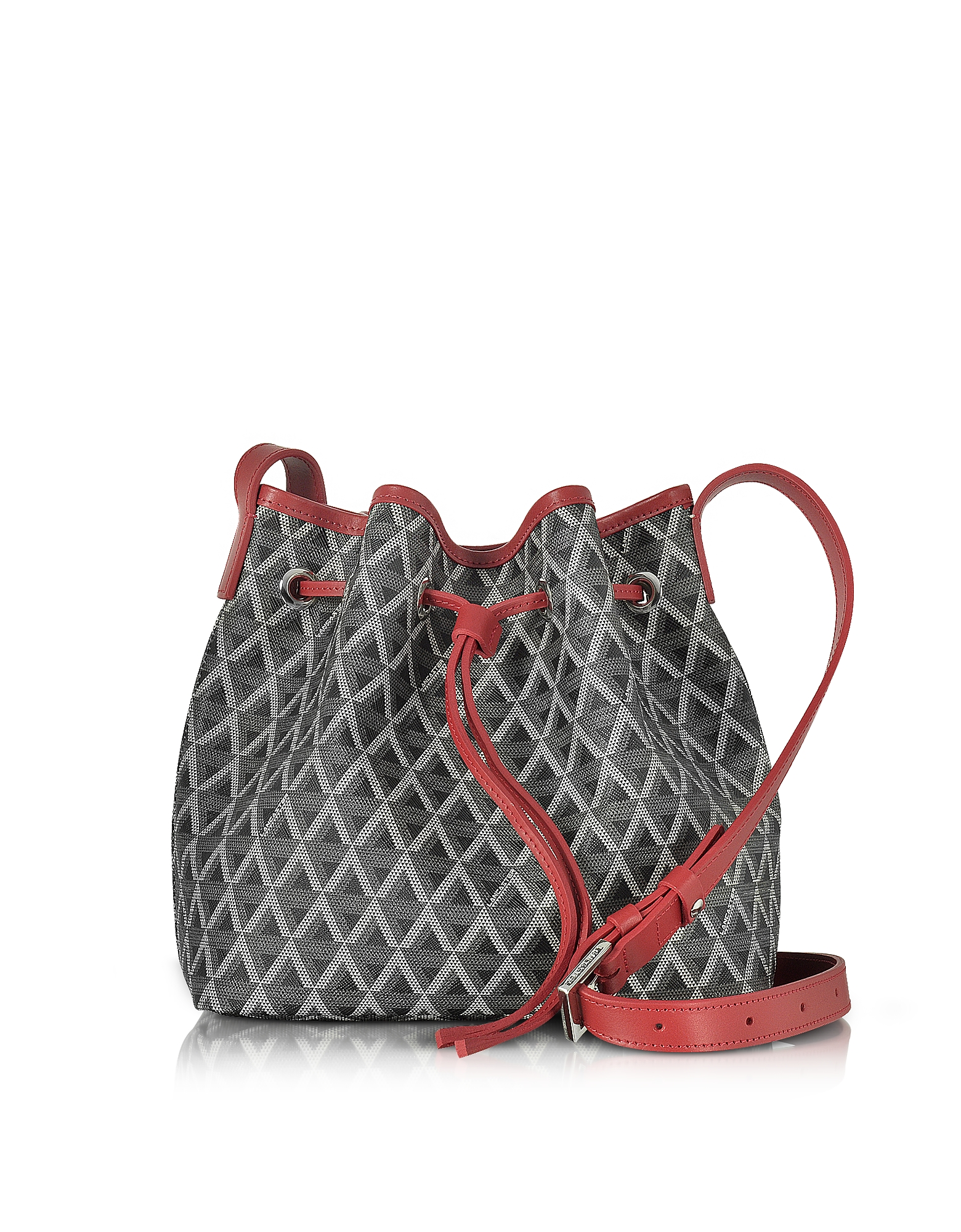 b00280f60276 Lancaster Paris Ikon Black   Red Coated Canvas and Leather Small Bucket Bag
