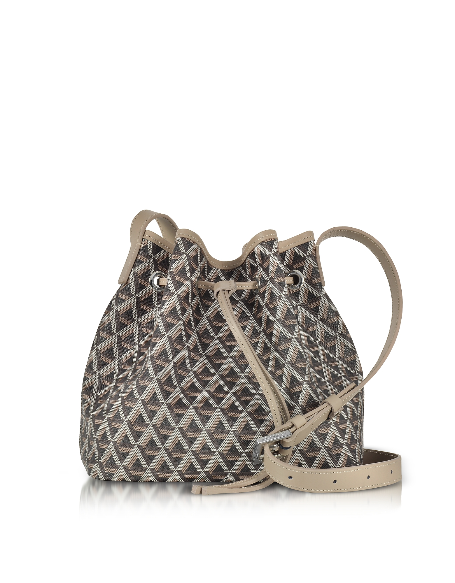 Lancaster Paris Handbags, Ikon Brown & Nude Coated Canvas and Leather Small Bucket Bag