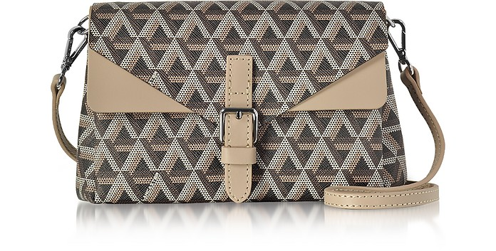Ikon Brown & Nude Coated Canvas and Leather Mini Clutch - Lancaster Paris
