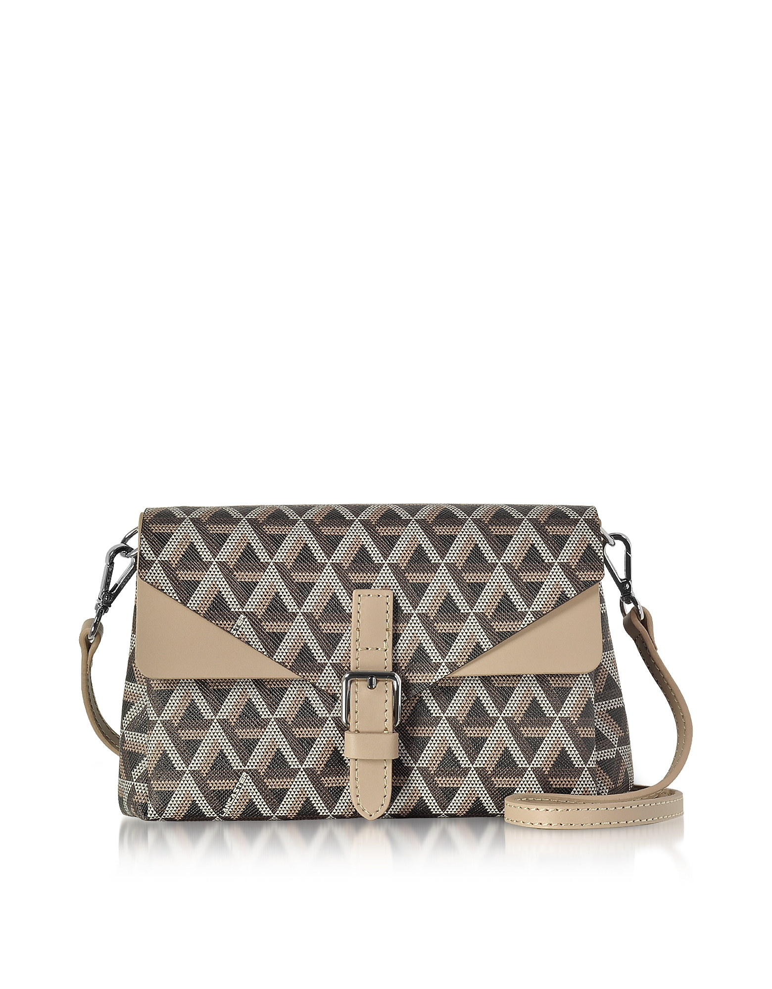Lancaster Paris Handbags, Ikon Brown & Nude Coated Canvas and Leather Mini Clutch