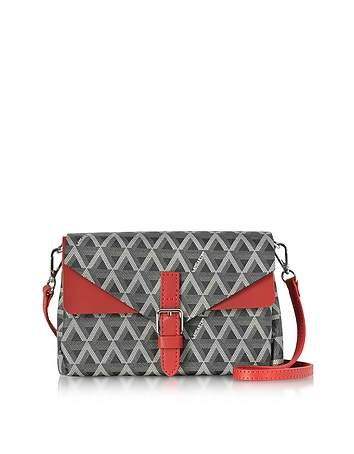 Lancaster Paris - Ikon Black & Red Coated Canvas and Leather Mini Clutch