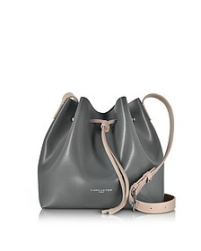Pur & Element Gray and Nude Leather Bucket Bag - Lancaster Paris