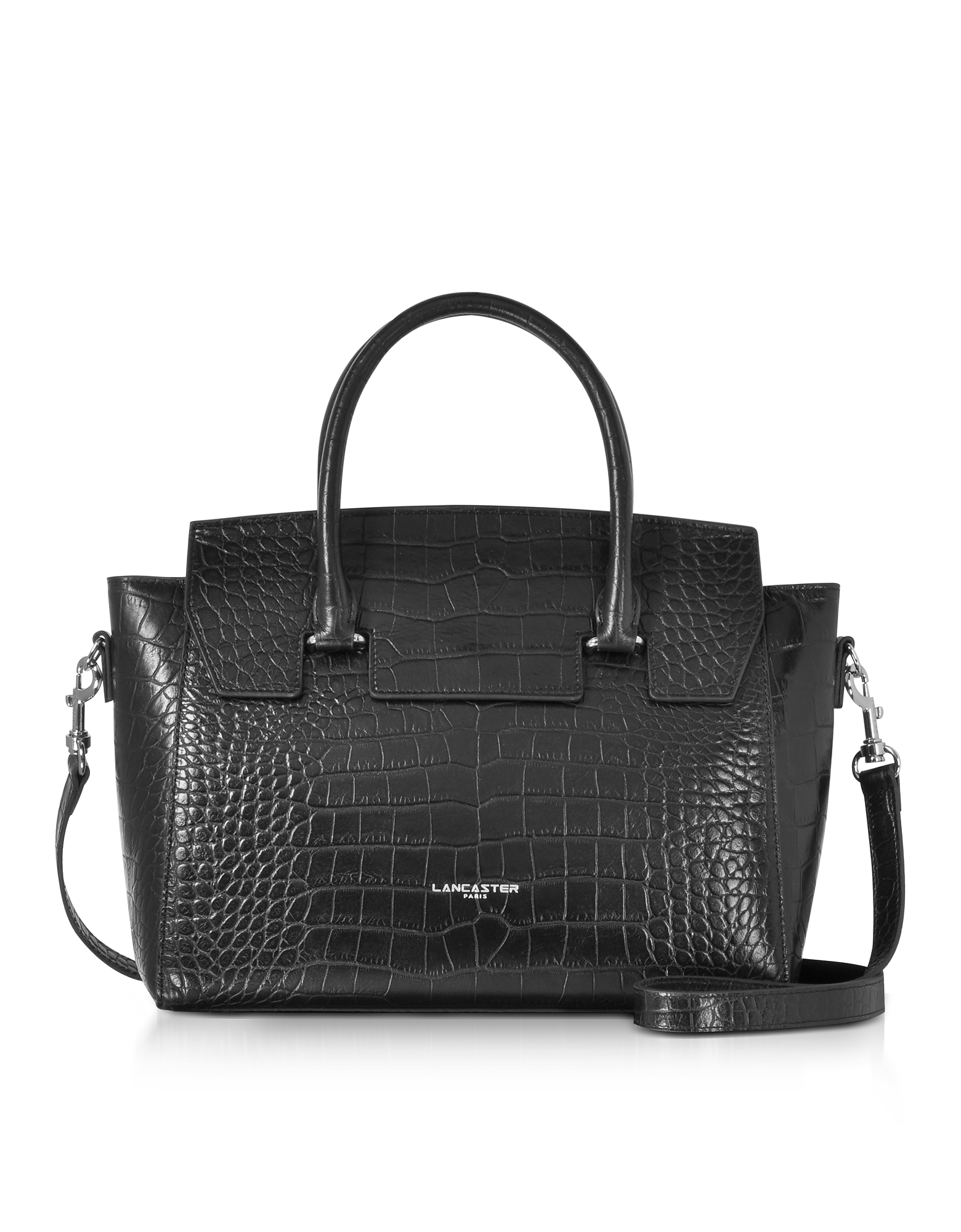 Lancaster Paris Handbags, Black Croco Embossed Leather Satchel Bag
