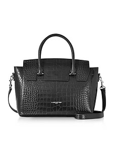 Black Croco Embossed Leather Satchel Bag - Lancaster Paris