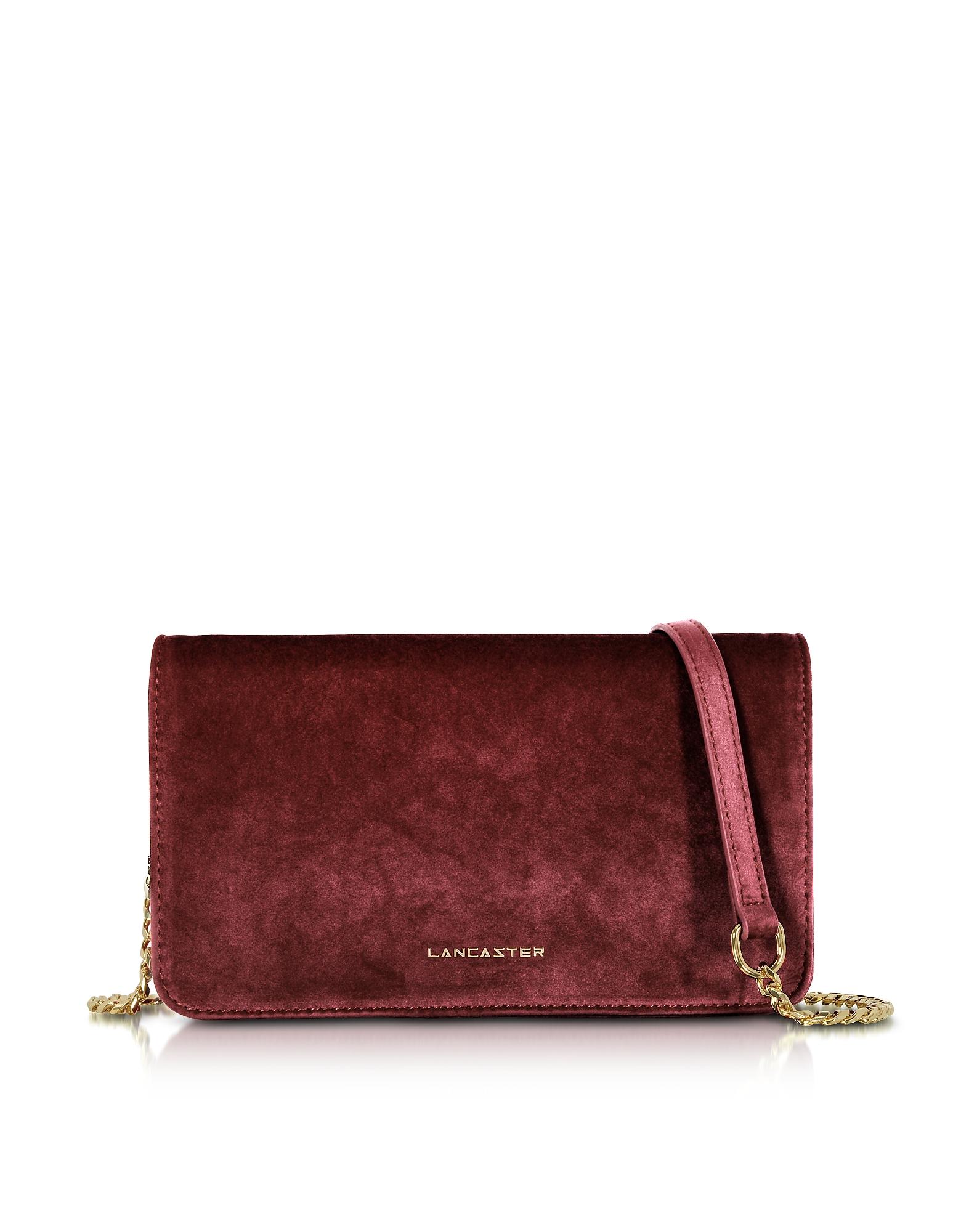Lancaster Paris Handbags, Velvet Flap Clutch w/Strap