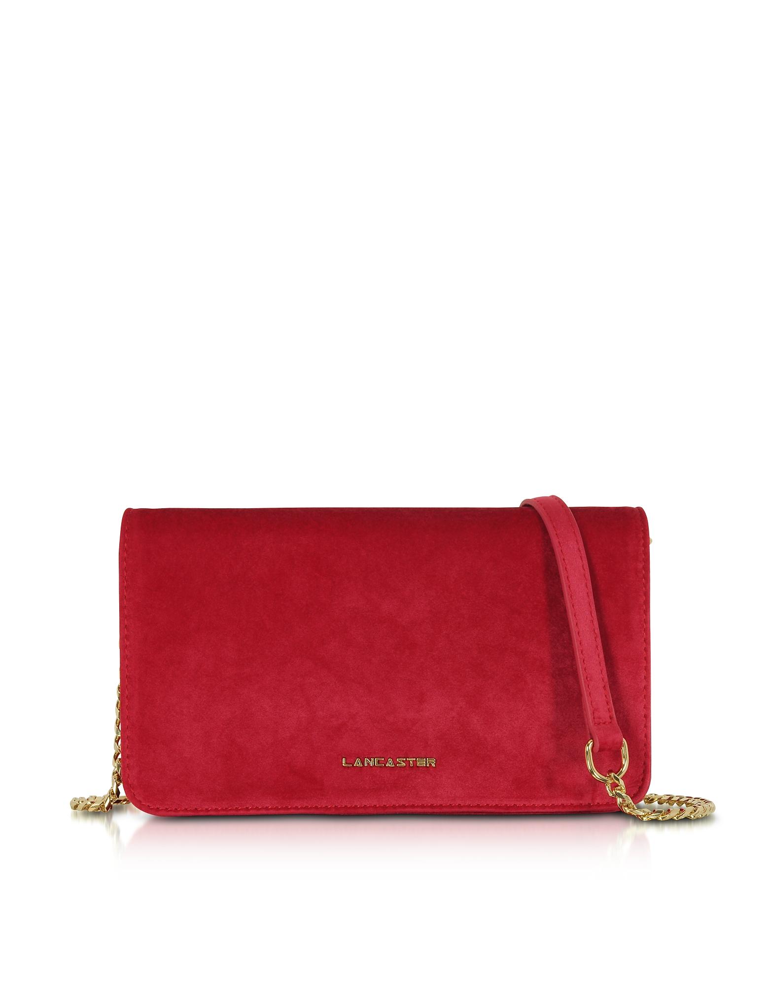 Lancaster Paris Designer Handbags, Velvet Flap Clutch w/Strap