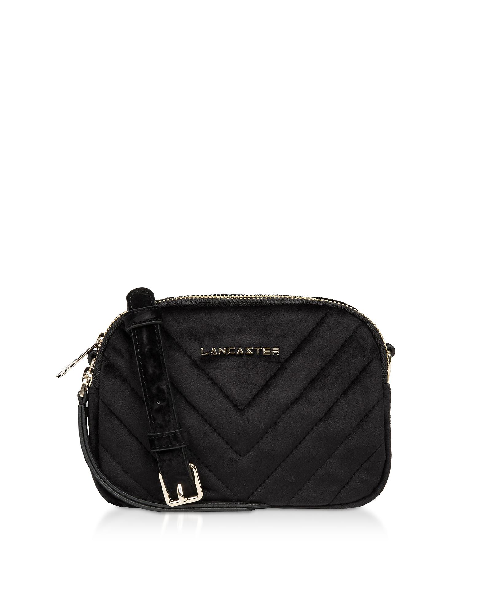 Lancaster Paris Designer Handbags, Quilted Velvet Couture Mini Camera/Belt Bag