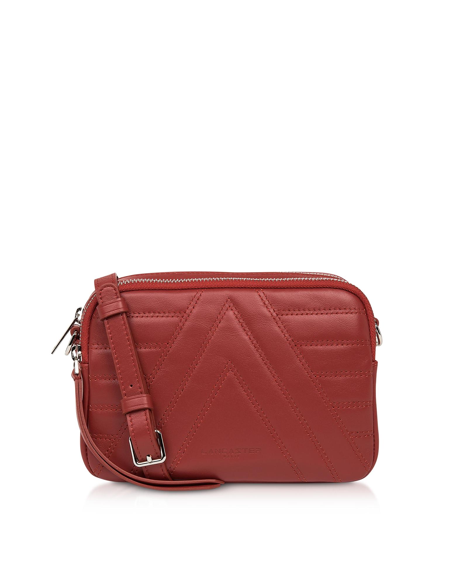 Lancaster Paris Designer Handbags, Red Parisienne Quilted Leather Crossbody Bag