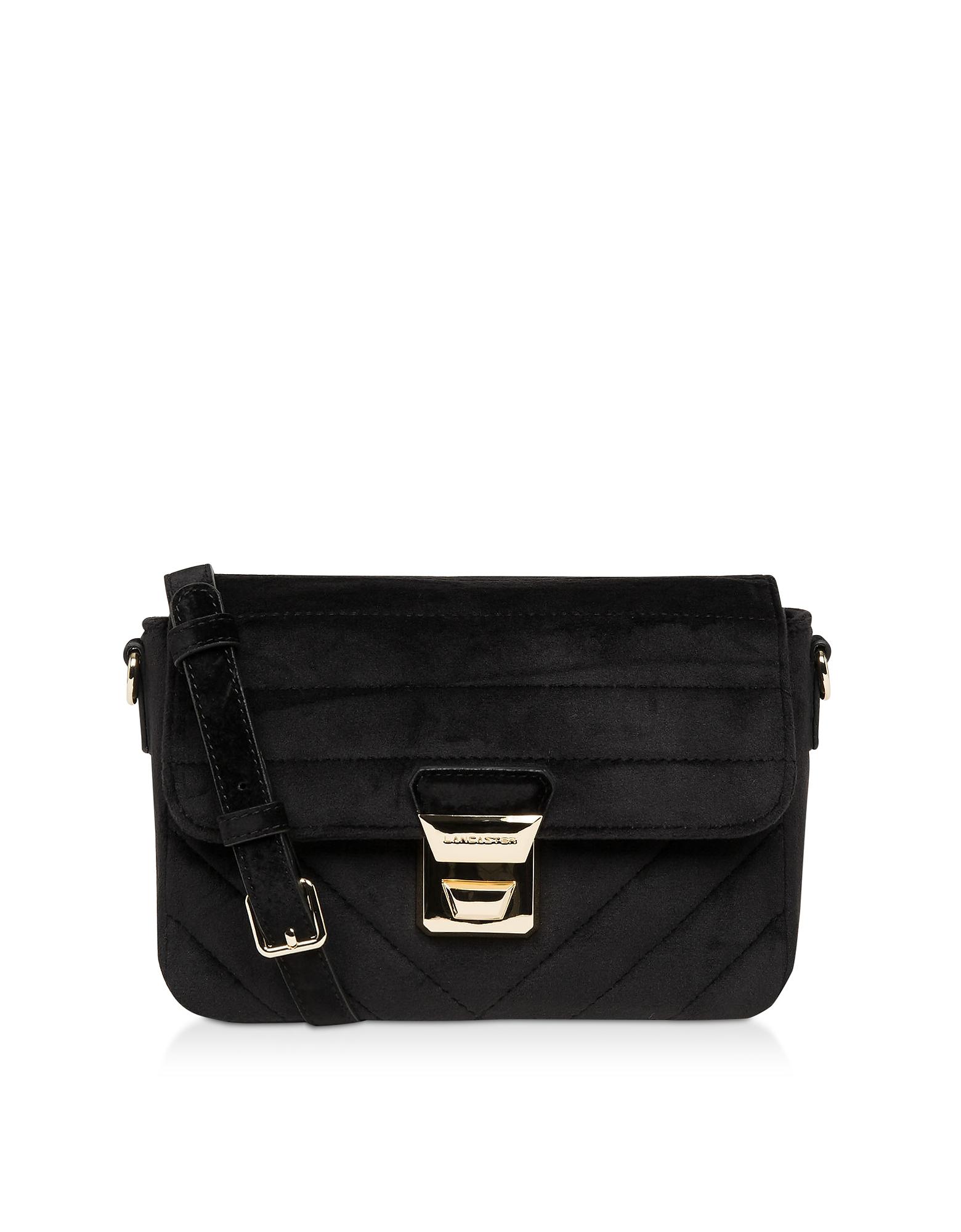 Lancaster Paris Designer Handbags, Actual Velvet Couture Flap Crossbody Bag