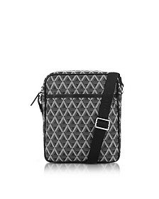 Ikon Black Coated Canvas Men's Crossbody Bag - Lancaster Paris