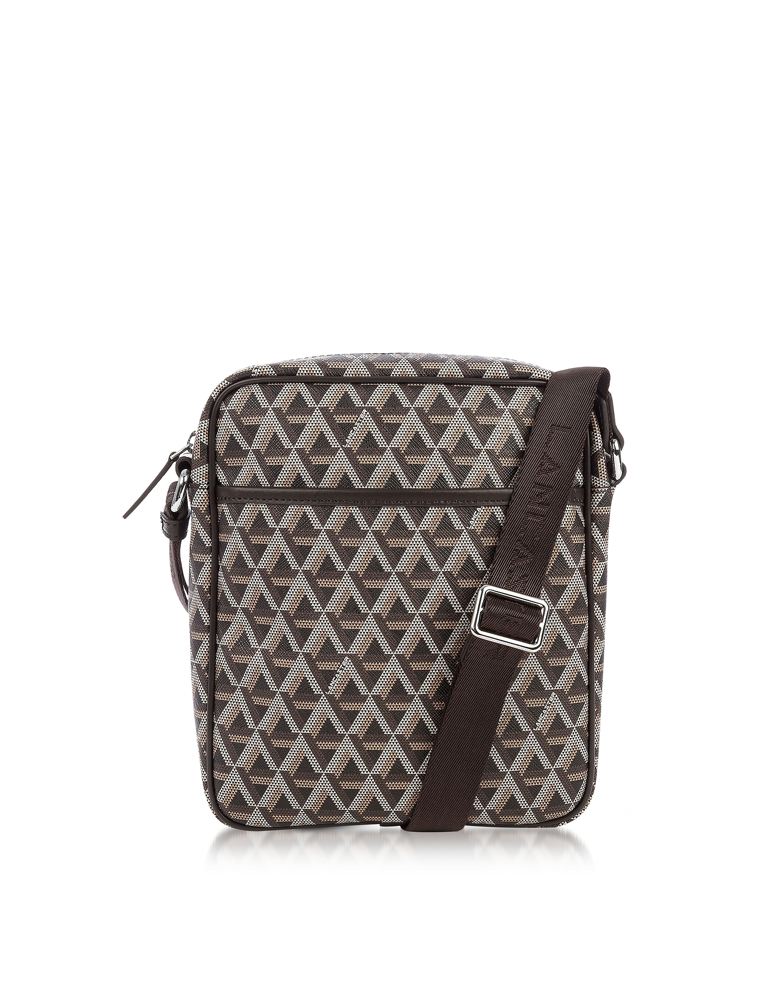 Lancaster Paris Men's Bags, Ikon Brown Coated Canvas Men's Crossbody Bag