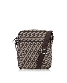 Ikon Brown Coated Canvas Men's Crossbody Bag - Lancaster Paris