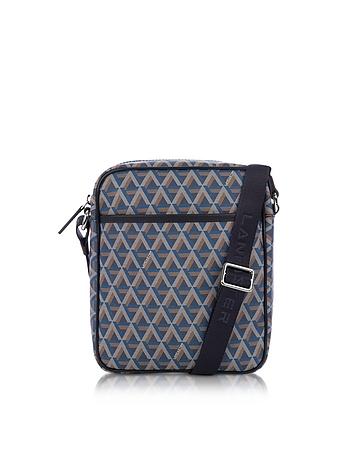 Lancaster Paris - Ikon Blue Coated Canvas Men's Crossbody Bag