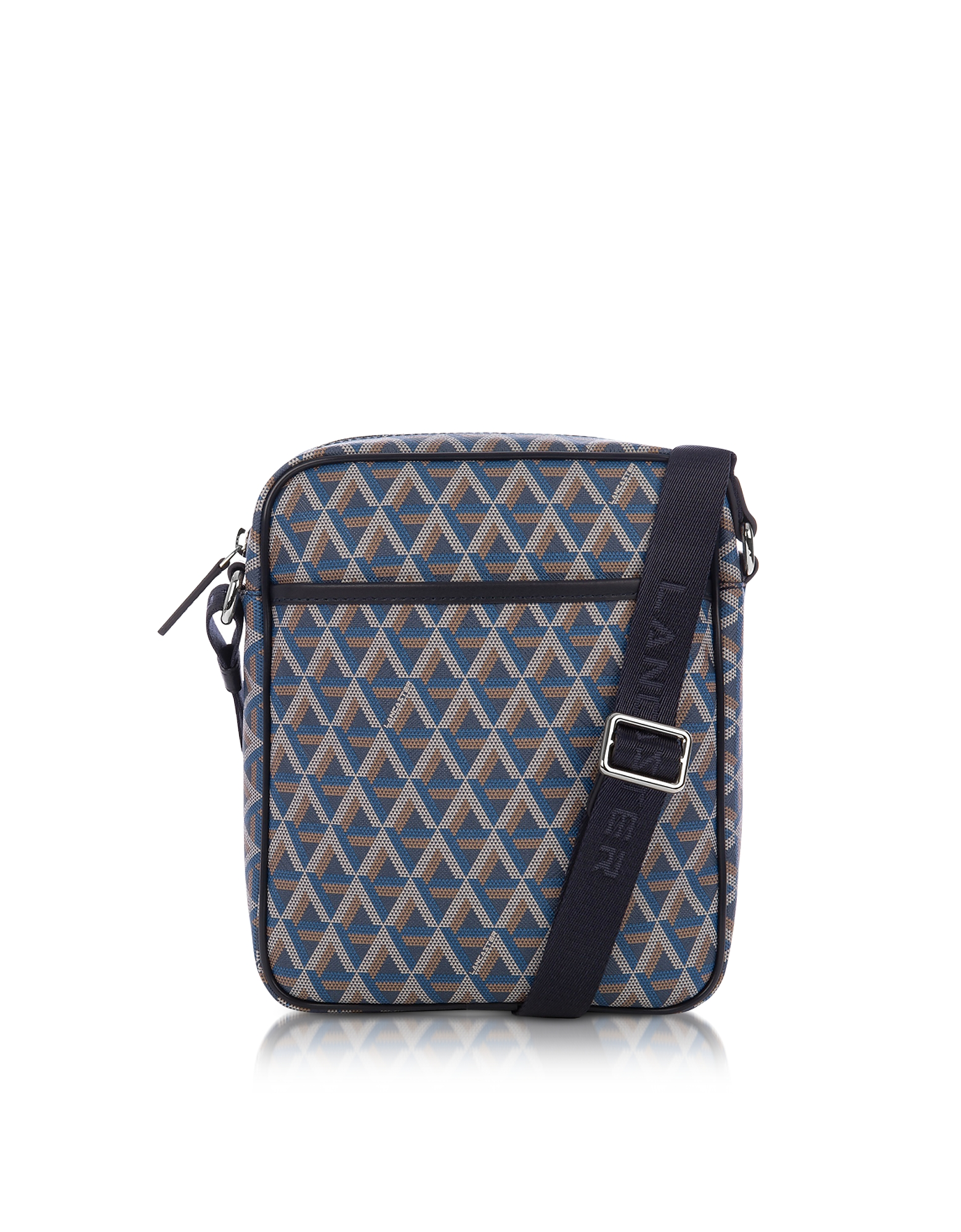 Lancaster Paris Men's Bags, Ikon Blue Coated Canvas Men's Crossbody Bag