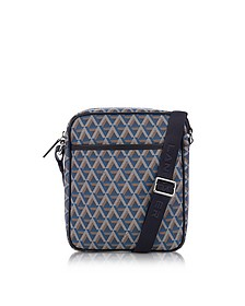 Ikon Blue Herren-Crossbody aus beschichtetem Canvas in blau - Lancaster Paris