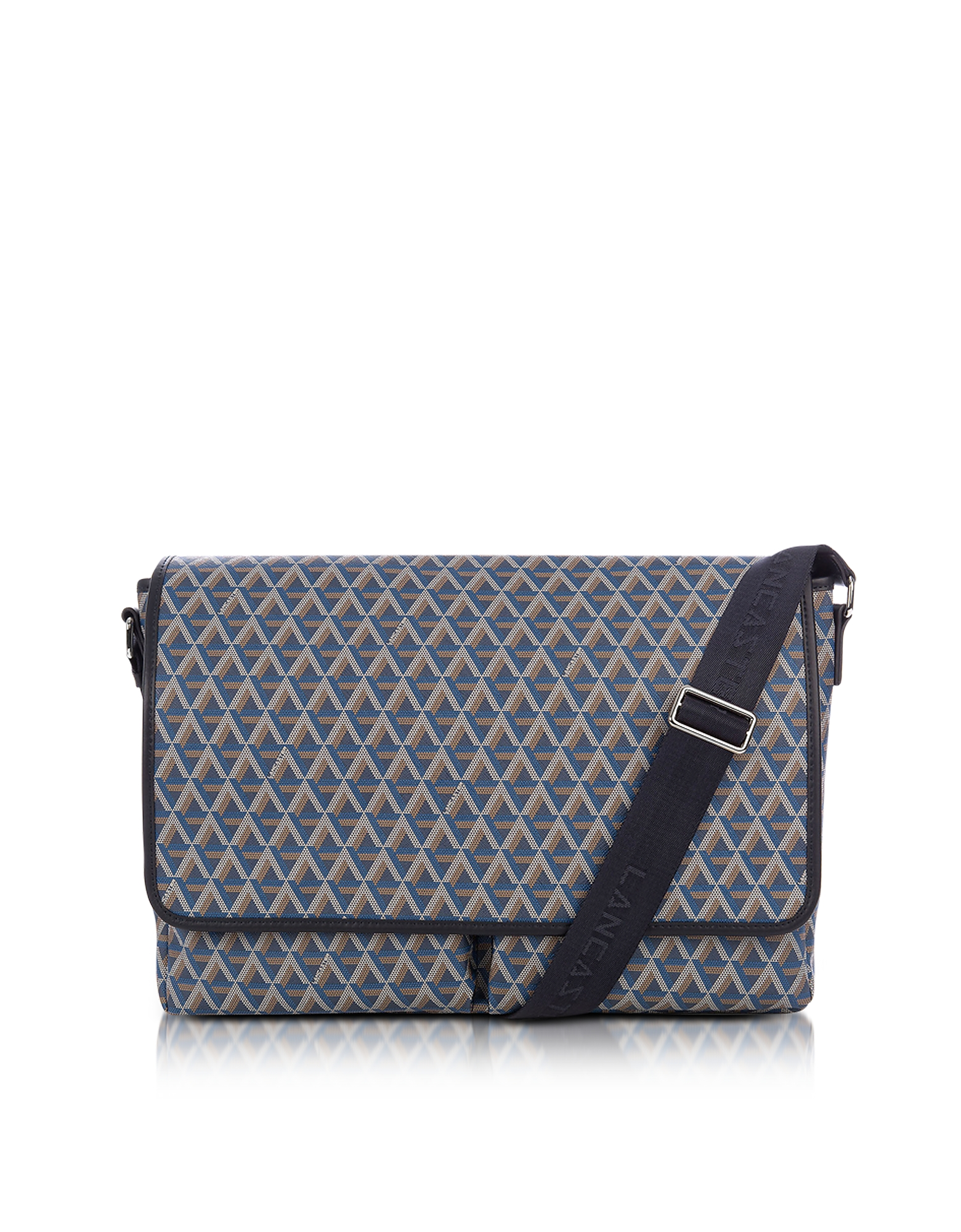 Image of Lancaster Paris Designer Briefcases, Ikon Blue Coated Canvas Men's Messenger Bag