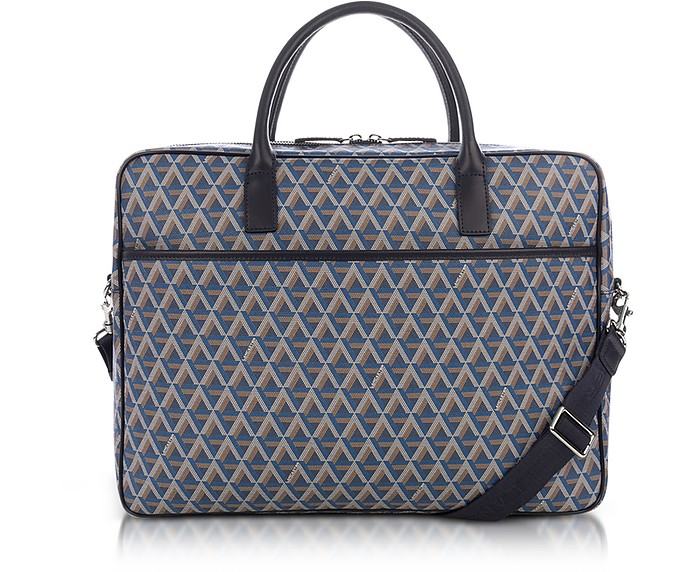 Ikon Blue Coated Canvas Men's Briefcase - Lancaster Paris