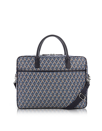 Ikon Blue Coated Canvas Men's Briefcase