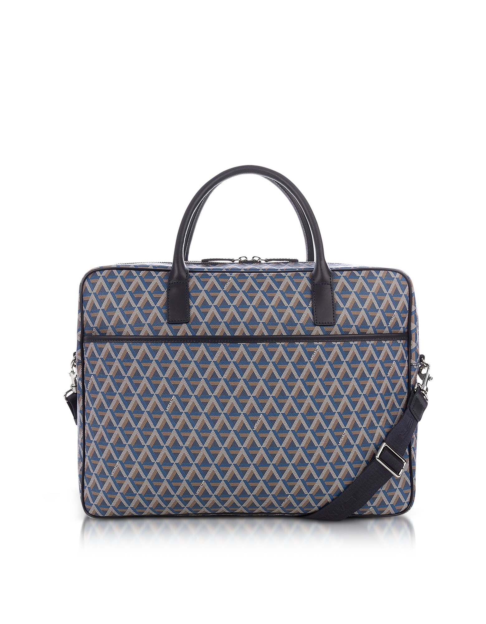 Lancaster Paris Briefcases, Ikon Blue Coated Canvas Men's Briefcase