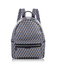 Ikon Blue Coated Canvas Men's Backpack - Lancaster Paris