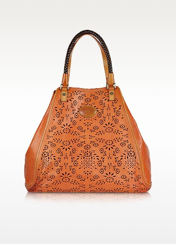 Polo Club - Orange Perforated Leather Tote - La Martina