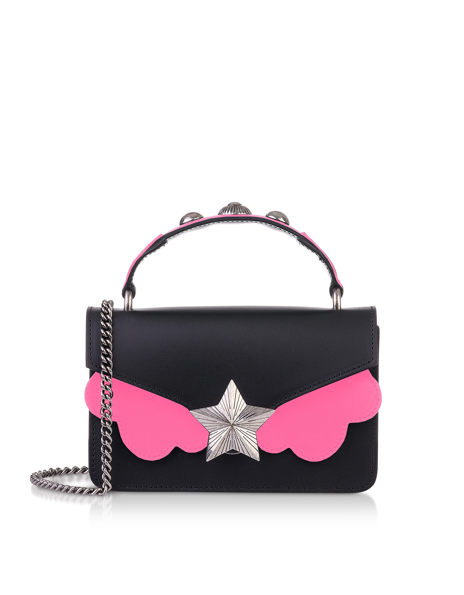 Black & Pink Fluo Top Handle Vega Mini Bag