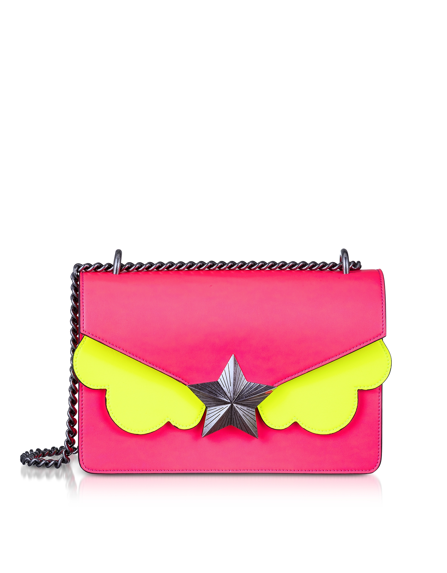 Neon Pink and Yellow Leather New Vega Medium Shoulder Bag