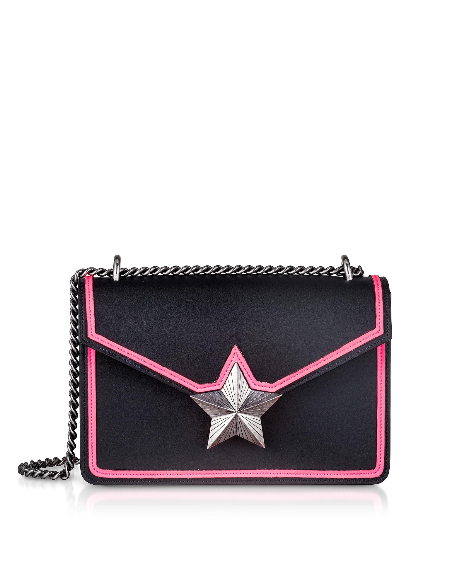 Black & Neon Pink Leather New Vega Trim Shoulder Bag