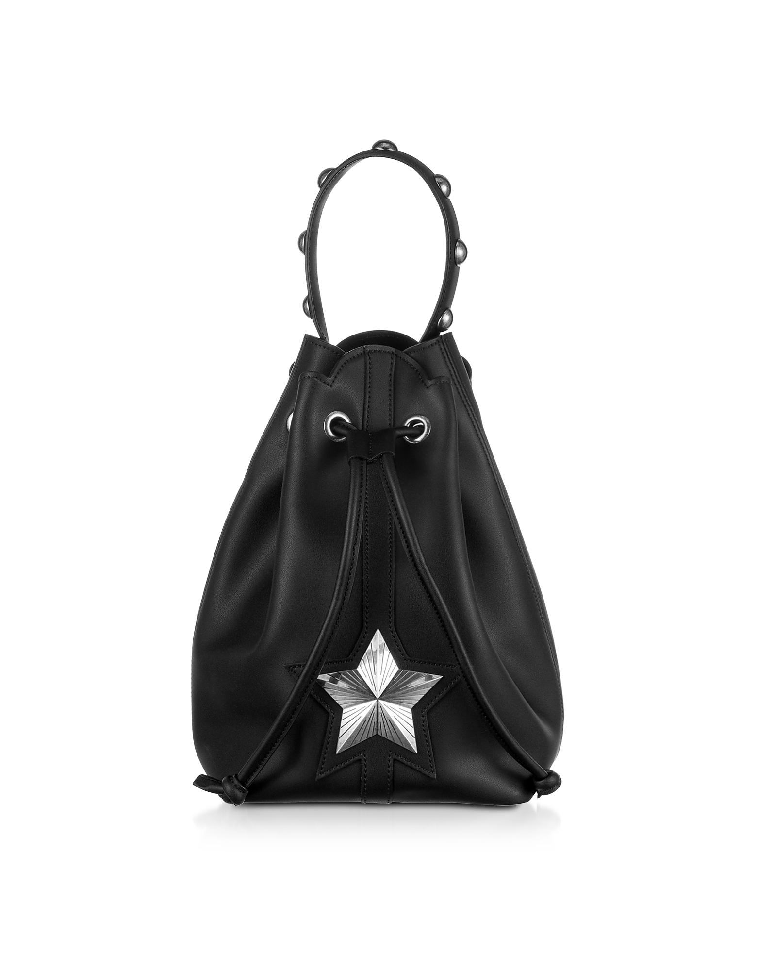 Les Jeunes Etoiles Designer Handbags, Black Leather Vega Bucket Bag