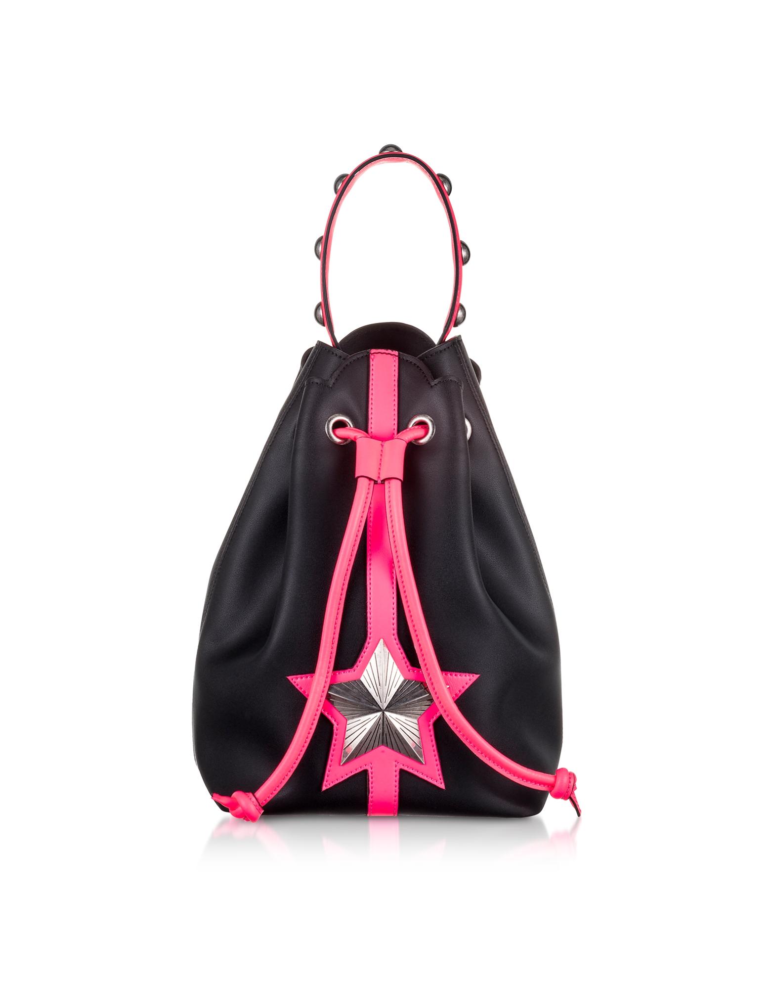 Vega - Черная Кожаная Сумка Мешок с Неоново-Розовой Деталью