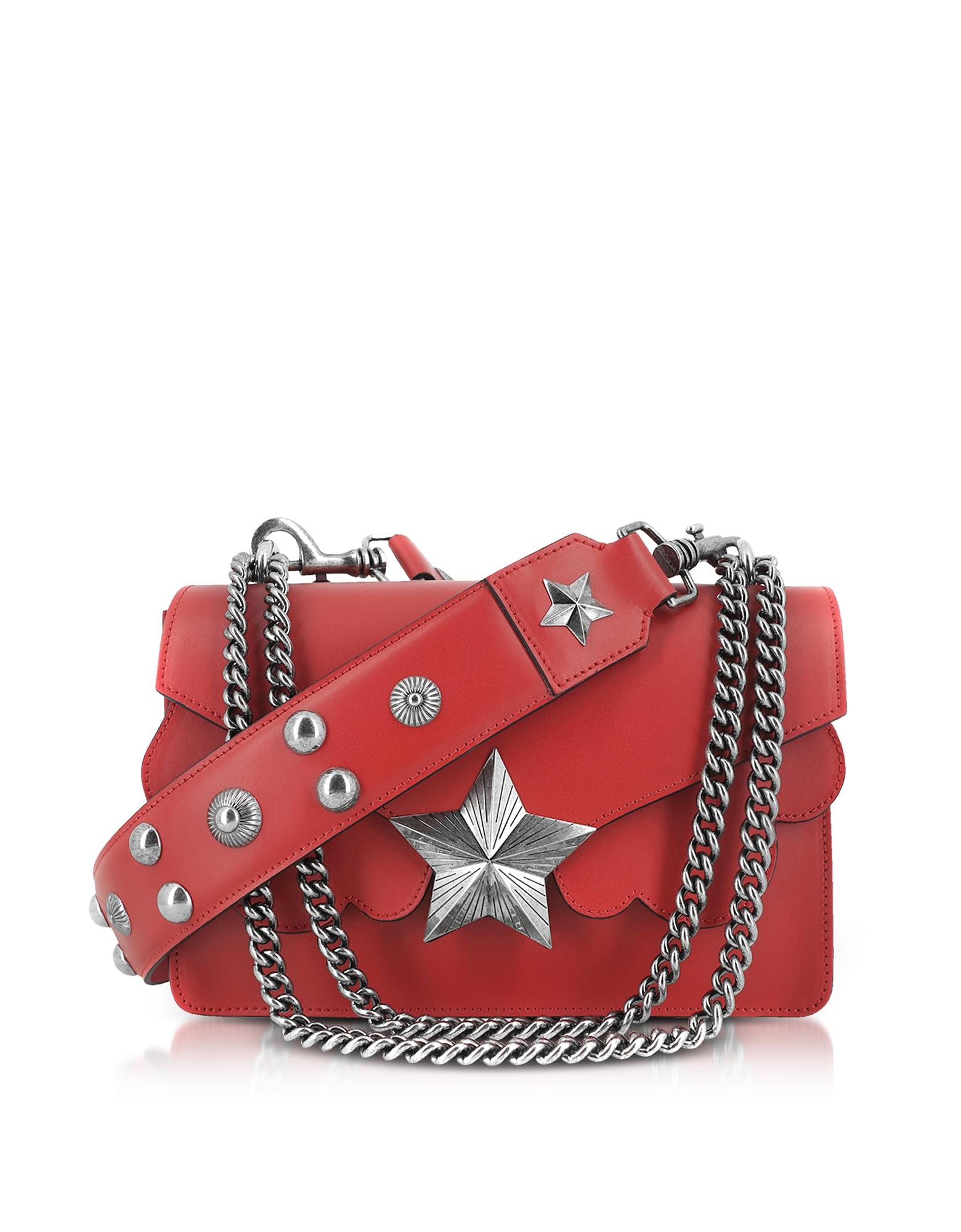 Red Leather Vega Medium Shoulder Bag