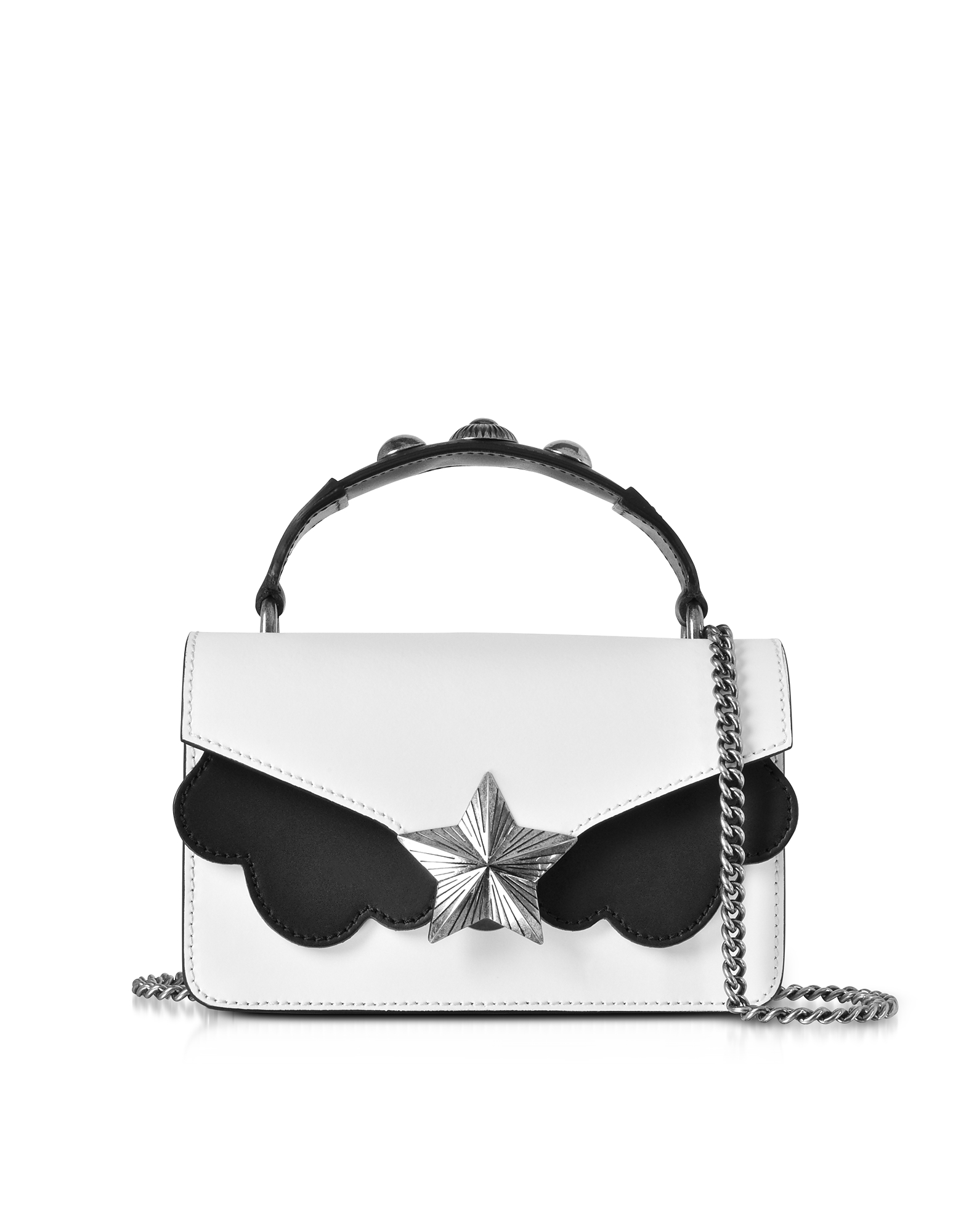 Les Jeunes Etoiles Handbags, White & Black Leather Vega Mini Shoulder Bag