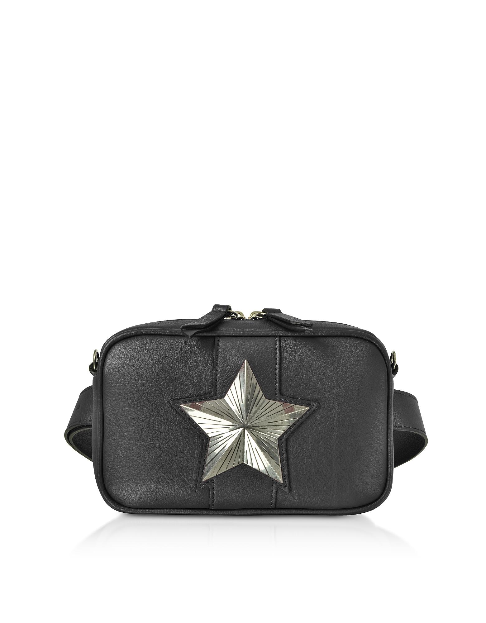 Les Jeunes Etoiles Handbags, Leather Vega Belt Bag w/Chain Strap