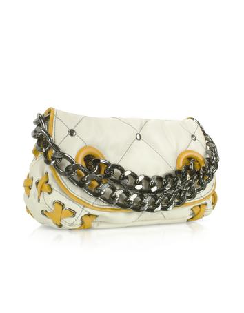 Foto der Handtasche Luana Darika - Schultertasche mit gestepptem Muster in weiss & ocker