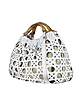 Ines - Canvas and White Leather Wooden Handle Tote Bag - Luana