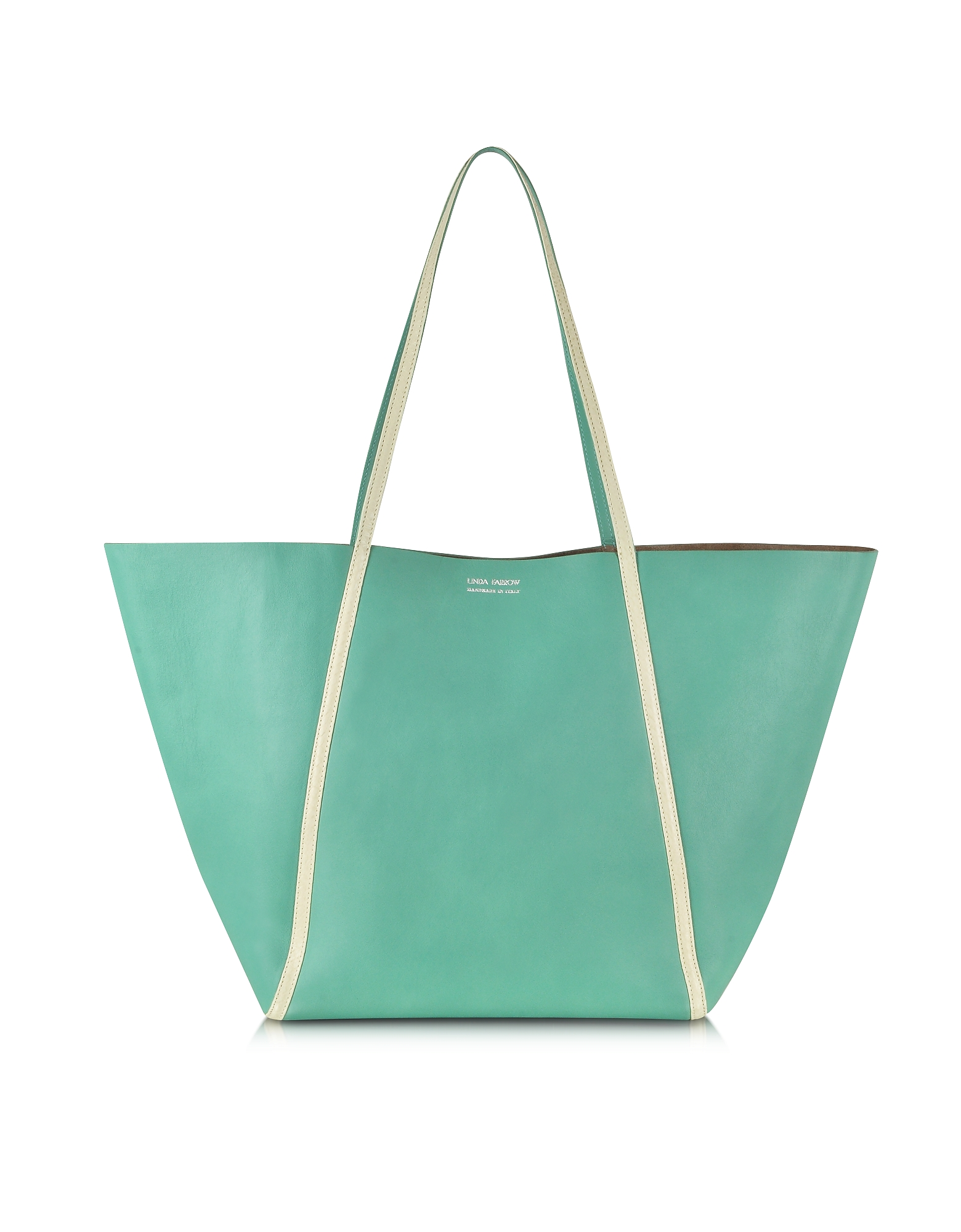 Linda Farrow Handbags, Pale Yellow Ayers and Green Calf Leather Tote