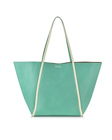 Pale Yellow Ayers and Green Calf Leather Tote - Linda Farrow
