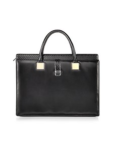 Anniversary Black Ayers and Leather Tote - Linda Farrow