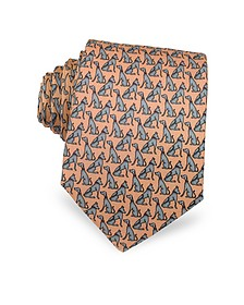 Dogs Print Silk Narrow Tie - Laura Biagiotti